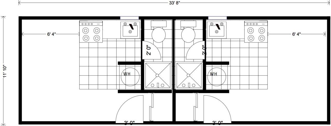 Portable employee housing bachelor 39 s duplex little for Bachelor house plans