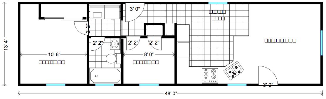 Portable Employee Housing Midsize Family House Sonoma